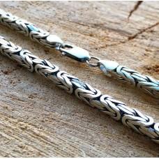 Серебряная Цепь Лисий Хвост,ширина 5.0 мм. с покрытием Чернения.